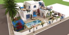 Vente villa, Houch à Djerba vue de mer